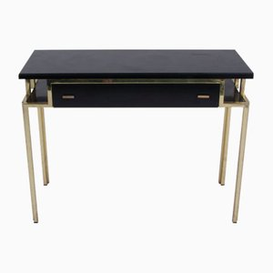 Vintage French Black Lacquer & Gilt Metal Console Table