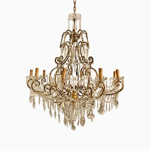 Large Vintage Crystal Beaded Chandelier