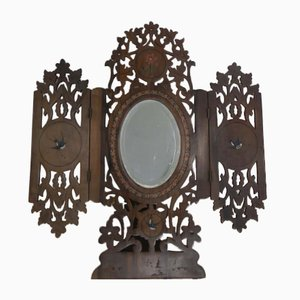 Klappbarer italienischer Vintage Spiegel aus Olivenholz