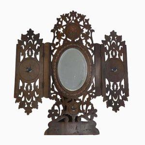 Vintage Italian Olive Wood Folding Mirror