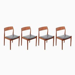 Sedie in teak di Nørgaards Møbelfabrik, Scandinavia, anni '60, set di 4