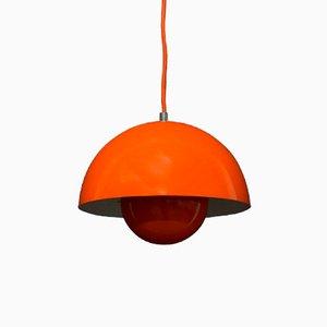 Lampada a sospensione Flowerpot arancione di Verner Panton per Louis Poulsen, anni '60