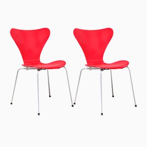 Red 3107 Butterfly Chairs by Arne Jacobsen, 1955, Set of 2