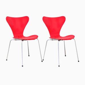 Rote 3107 Butterfly Stühle von Arne Jacobsen, 1955, 2er Set