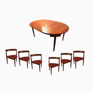 Juego de mesa de comedor Roundette y 6 sillas de Hans Olsen, 1952