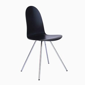 Vintage Black Lacquered Tongue Chair by Arne Jacobsen