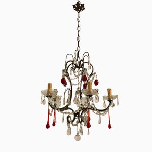 Vintage Red Murano Glass Beaded Chandelier