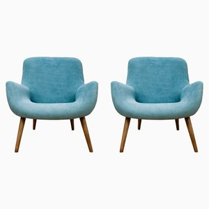 Vintage Blue Danish Armchairs, 1960s, Set of 2