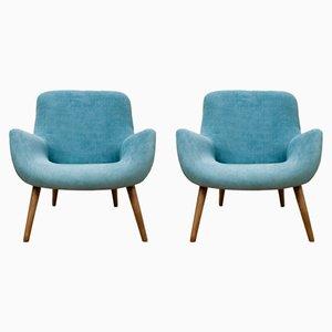 Vintage Blue Danish Armchairs, 1960s, Set of 2