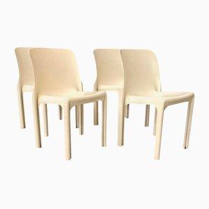 Weiße Selene Stühle von Vico Magistretti für Artemide, 1960er, 4er Set