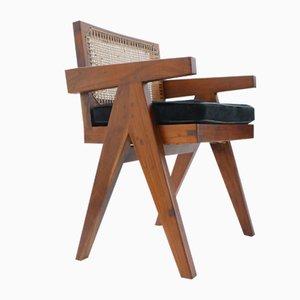 Sedia da conferenza in teak di Pierre Jeanneret, anni '50