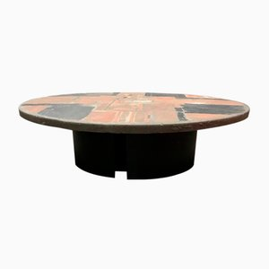 Table Basse Ronde en Pierre par Paul Kingma, 1970