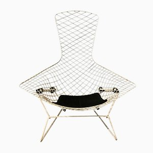 Silla Bird blanca con almohadilla negra de Harry Bertoia para Knoll International, 1952
