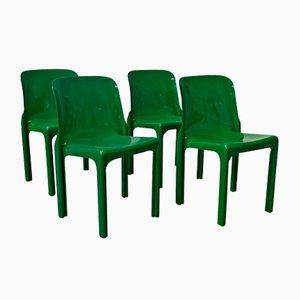 Sillas Selene en verde de Vico Magistretti para Artemide, años 60. Juego de 4