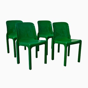 Sedie Selene verdi di Vico Magistretti per Artemide, anni '60, set di 4