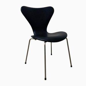 Schwarzer Vintage 3107 Butterfly Stuhl aus Kunstleder von Arne Jacobsen, 1955