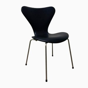 Sedia Butterfly 3107 vintage in similpelle nera di Arne Jacobsen, 1955