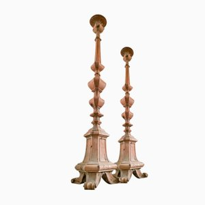 19th Century French Ecclesiastical Hand Carved Oak Floor Candlesticks, Set of 2