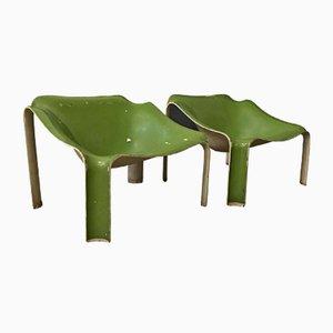 Sillas F300 en blanco y verde de Pierre Paulin para Artifort, 1967. Juego de 2