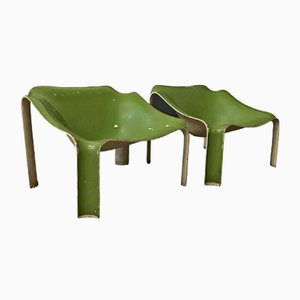 White & Green F300 Chairs by Pierre Paulin for Artifort, 1967, Set of 2