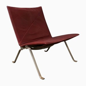 Red Leather PK22 Lounge Chair by Poul Kjaerholm for E. Kold Christensen, 1956