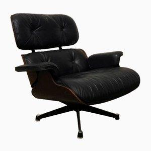 Sillón de cuero negro de Charles & Ray Eames, años 50