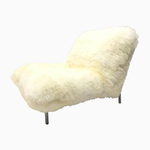 Sheepskin Fluffy Calin Lounge Chair by Pascal Mourgue for Cinna, 1980s
