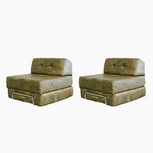Sofá cama modular vintage de retales de cuero. Juego de 2