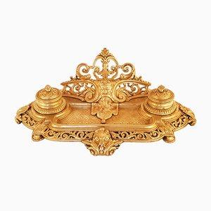 Großes Napoleon III Tintenfass aus vergoldeter Bronze