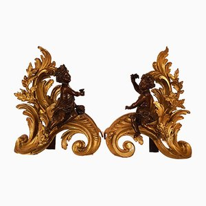 Antique Gilt Bronze Fireplace Bar & Andirets Set with Putti