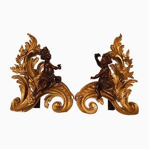 Bar & Chenets de Cheminée Antique en Bronze Doré avec Putti