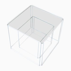 Tavolini Isocele bianchi di Max Sauze, 1968, set di 2