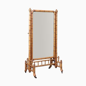 Victorian Faux Bamboo Cheval Mirror