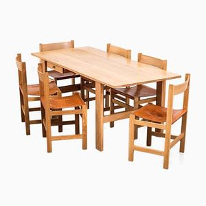 Mid-Century Scandinavian Oak & Leather Dining Set