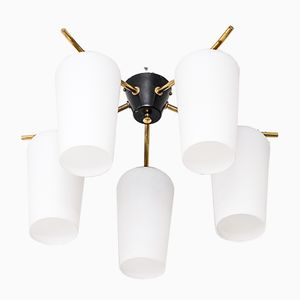 Mid-Century Finnish Flush Mount Light Fixture from Itsu, 1950s