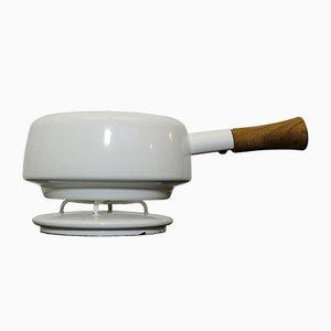 Cacerola para fondue pequeña esmaltada en blanco de Jens Quistgaard para Dansk Design, años 50