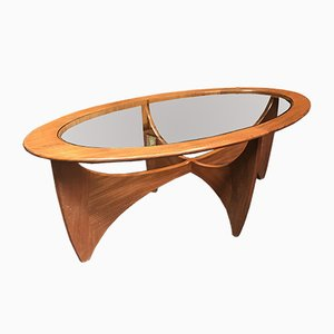 Mid-Century Astro Oval Teak & Glass Coffee Table by Victor Wilkins for G-Plan