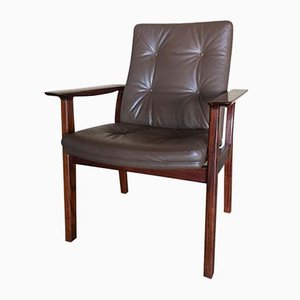 Swedish Leather & Rosewood Office Armchair, 1970s