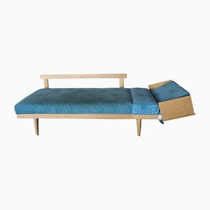 Dormeuse in tessuto blu e quercia di Ingmar Relling per Ekornes, anni '60