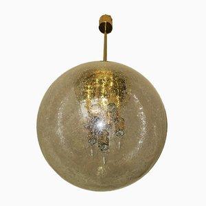Grande Suspension Globe en Verre Givré et Laiton de Doria Leuchten, 1960s