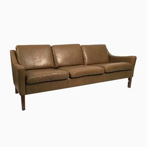 Danish Brown Leather Three-Seater Sofa, 1960s