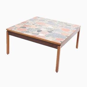 Table Basse Mid-Century en Palissandre avec Plateau en Pierre, Danemark, 1960s
