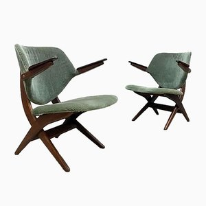 Niederländische Pelican Armlehnstühle von Louis van Teeffelen für Webe, 1950er, 2er Set