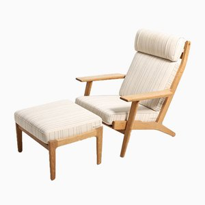 Danish GE 290 Oak Set with Easy Chair & Stool by Hans J. Wegner for Getama, 1960s