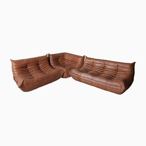 Kentucky Brown Leather Togo Living Room Set by Michel Ducaroy for Ligne Roset, 1970s