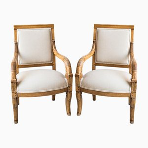 French Hazlenut Children's Lounge Chairs, 1910s, Set of 2