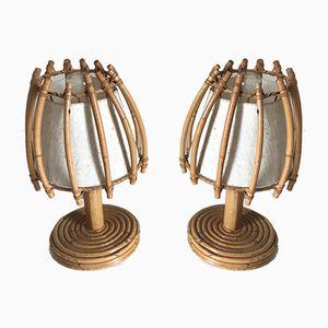 Vintage Tischlampen aus Rattan, 1960er, 2er Set