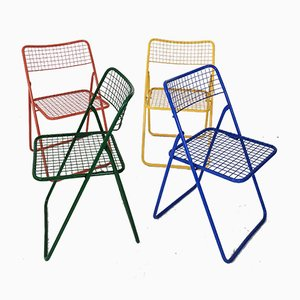 Sedie Ted Net pieghevoli di Niels Gammelgaard per Ikea, anni '70, set di 4