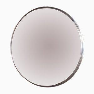 Espejo grande redondo con marco de acero inoxidable, años 60