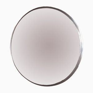 Large Round Mirror with Stainless Steel Frame, 1960s